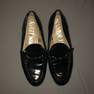 Black Glossy Silver Flats/Loafers